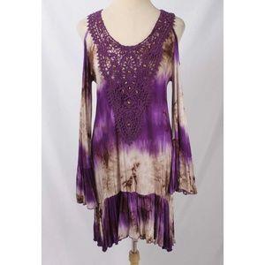 Urban Mangoz Purple Tie Dye Cold Shoulder Dress